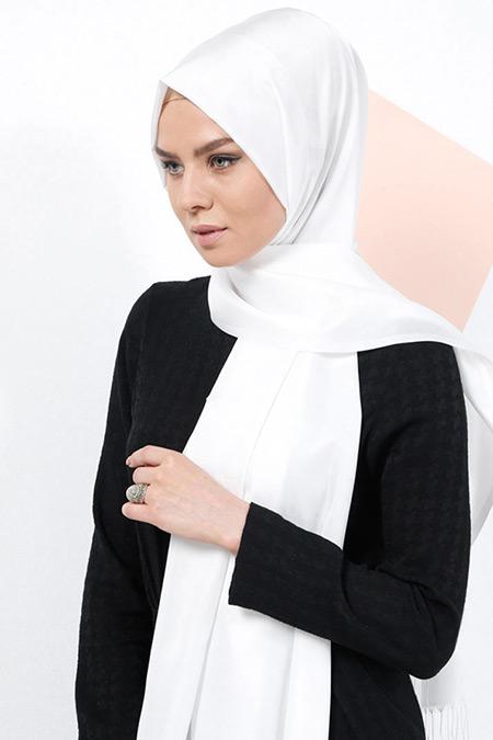 Armine Eşarp Beyaz Düz Renkli Şal
