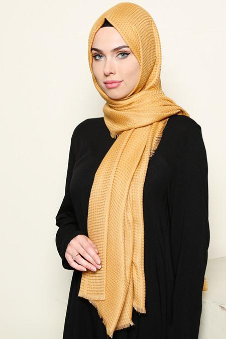 Armine Eşarp Gold Kareli Şal