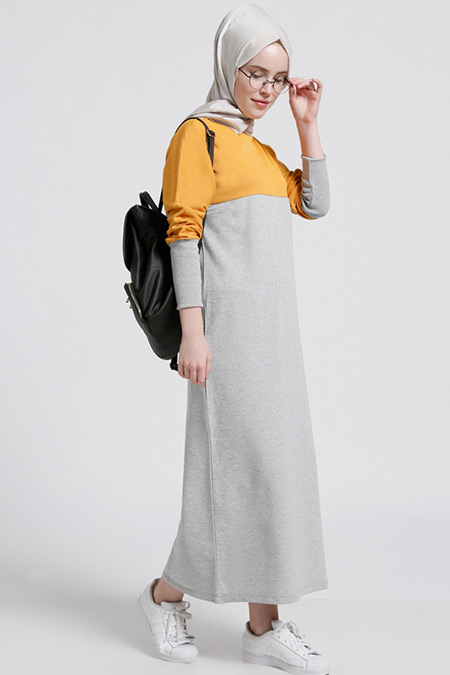 Benin Gri Hardal Garnili Elbise
