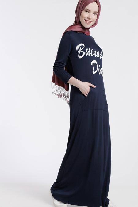 Benin Lacivert Doğal Kumaşlı Baskılı Elbise
