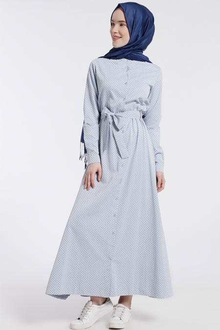 Benin Mavi Puantiyeli Elbise