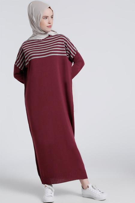 Benin Mürdüm Gri Triko Elbise