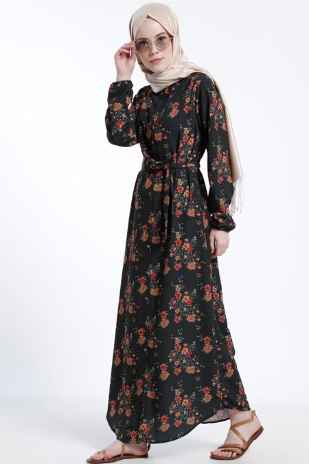 Benin Siyah Desenli Elbise