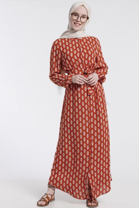 Benin Turuncu Doğal Kumaşlı Desenli Elbise