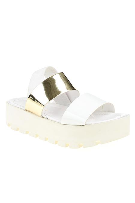 D by Divarese Light Altın Beyaz Rugan Sandalet