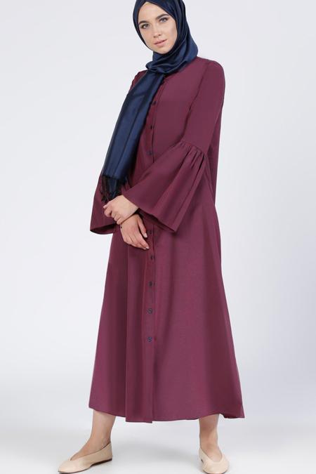 Everyday Basic Bordo Çizgili Elbise