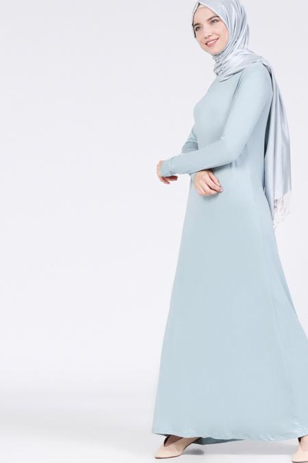 Everyday Basic Buz Mavi Doğal Kumaşlı Tek Renk Elbise