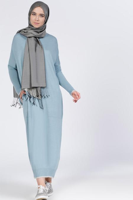 Everyday Basic Buz Mavi Triko Elbise