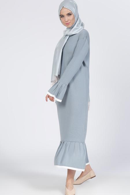 Everyday Basic Buz Mavisi Triko Elbise