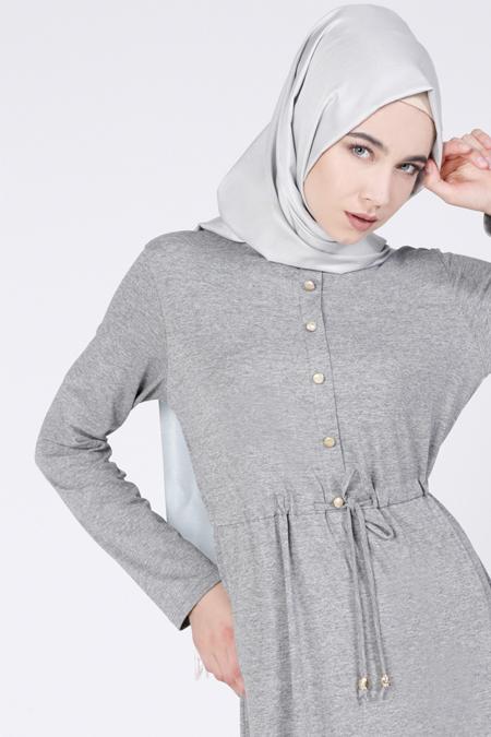 Everyday Basic Gri Doğal Kumaşlı Düğme Detaylı Elbise