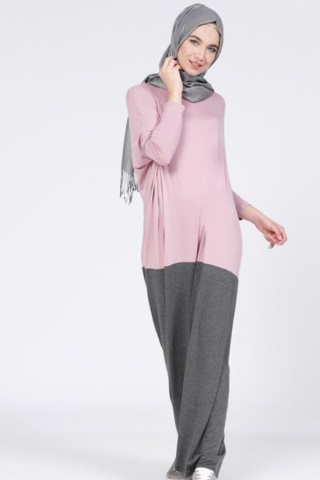 Everyday Basic Gül Kurusu Gri Doğal Kumaşlı Garnili Elbise