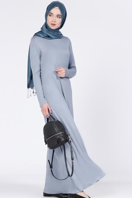 Everyday Basic İndigo Doğal Kumaşlı Tek Renk Elbise