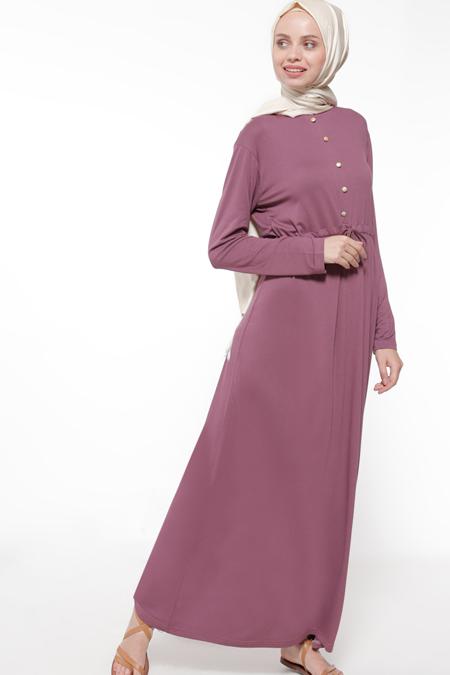 Everyday Basic Koyu Vişne Düğme Detaylı Elbise
