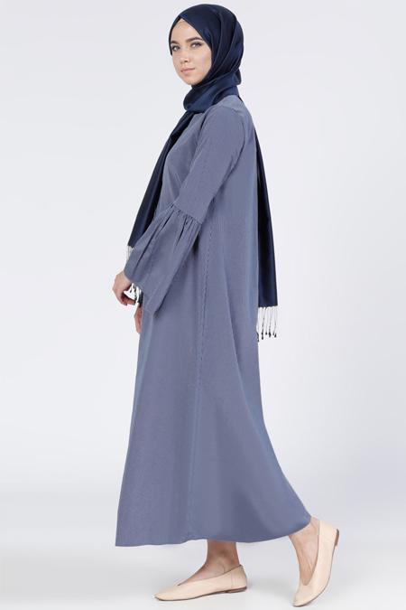 Everyday Basic Lacivert Çizgili Elbise