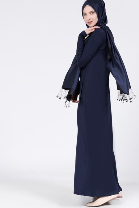 Everyday Basic Lacivert Doğal Kumaşlı Tek Renk Elbise