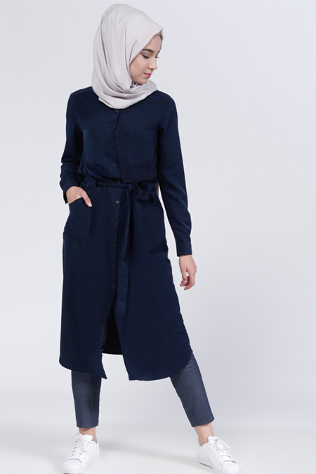 Everyday Basic Lacivert Düğmeli Tunik