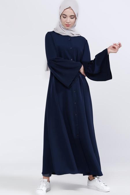 Everyday Basic Lacivert Kolları Volanlı Elbise