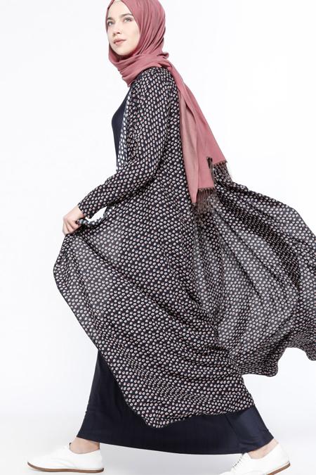Everyday Basic Lacivert Kolsuz Elbise & Kap İkili Takım