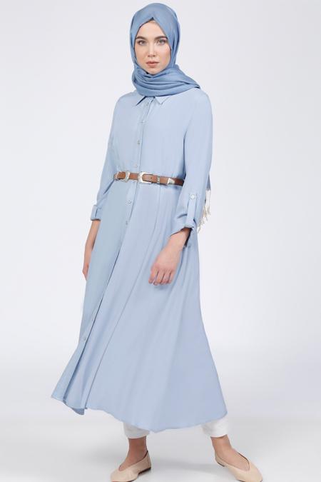 Everyday Basic Mavi Doğal Kumaşlı Kemerli Uzun Tunik