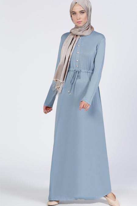 Everyday Basic Mavi Düğme Detaylı Elbise