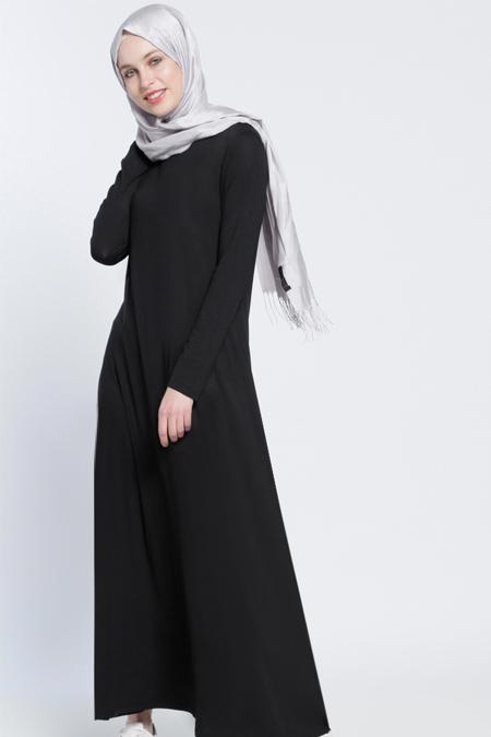 Everyday Basic Siyah Tek Renk Elbise