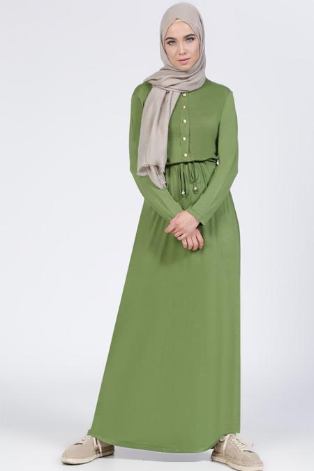 Everyday Basic Yeşil Doğal Kumaşlı Düğme Detaylı Elbise