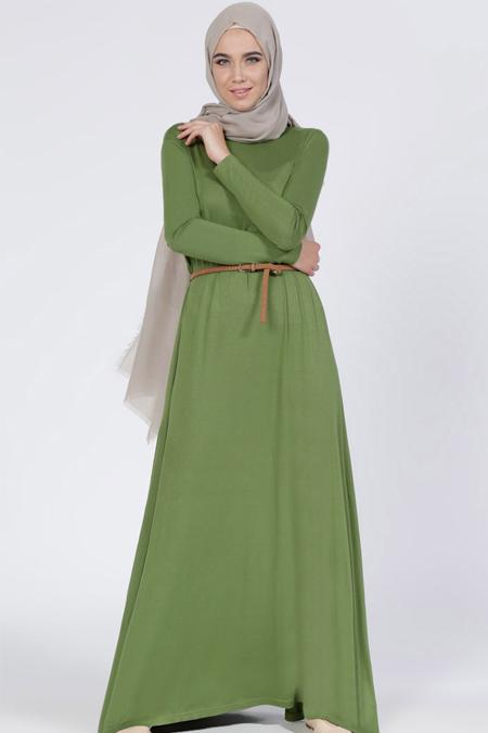 Everyday Basic Yeşil Doğal Kumaşlı Salaş Elbise