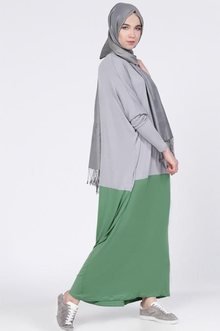 Everyday Basic Yeşil Gri Doğal Kumaşlı Garnili Elbise