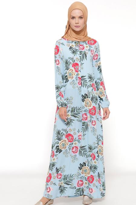 Ginezza Mavi Desenli Elbise