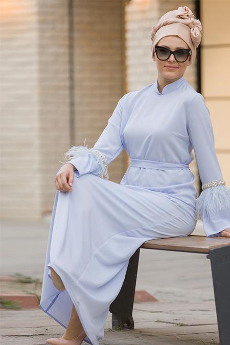 Gizem Kış Bebe Mavi İnci ve Tüy Detaylı Elbise