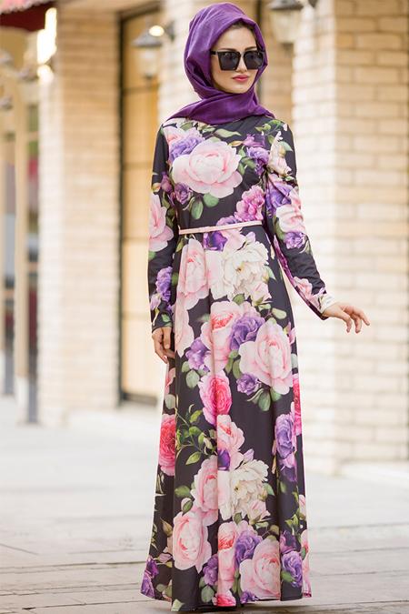 Gizem Kış Siyah Gül Desenli Elbise
