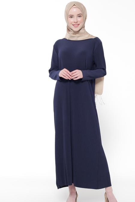 İLMEK TRİKO Lacivert Piliseli Elbise