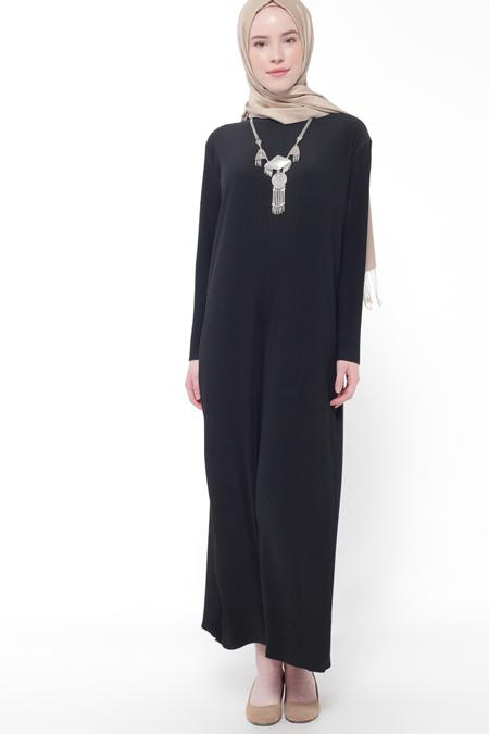 İLMEK TRİKO Siyah Piliseli Elbise
