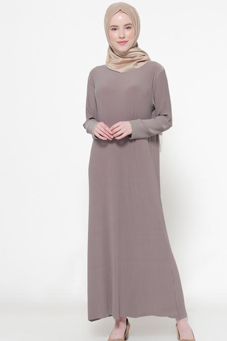 İLMEK TRİKO Vizon Piliseli Elbise