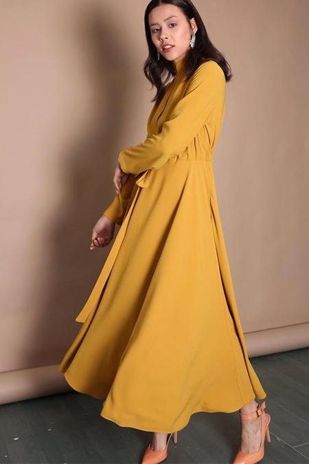 Kadriye Basturk Hardal Duble Kloş Yazlık Elbise