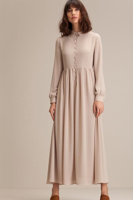 Kuaybe Gider Bej Passione Elbise