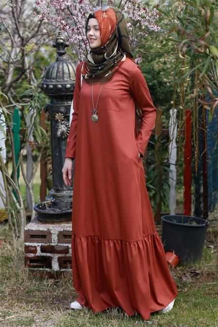 Kübra Biriktir Kiremit Nilüfer Elbise