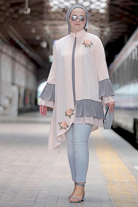Nesrin Emniyetli Pudra Nakışlı Fırfırlı Bluz&Ceket İkili Takım