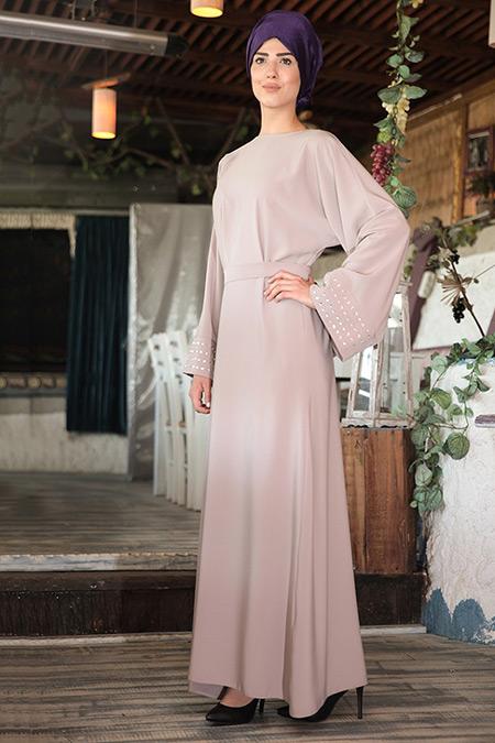 Nurkombin Bej Ferace Elbise