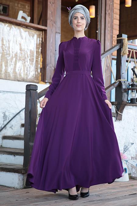Nurkombin Mor Petek İşlemeli Elbise