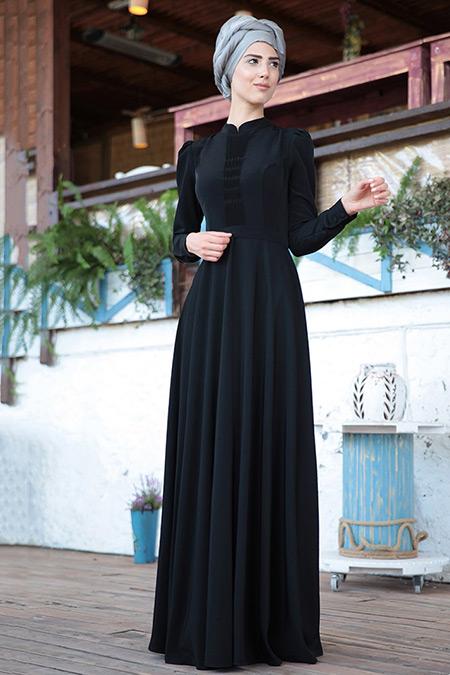 Nurkombin Siyah Petek İşlemeli Elbise