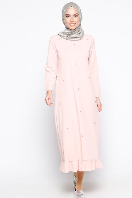 Patika Triko Pudra Taş Detaylı Elbise