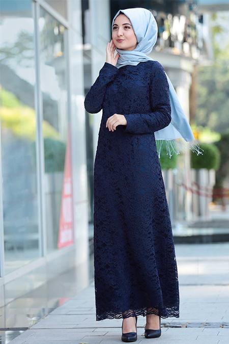 Puqqa Lacivert Dantelli Elbise