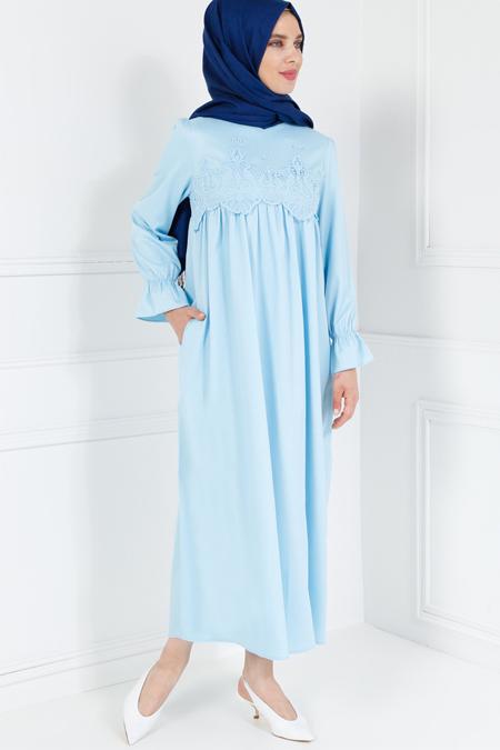 Refka Bebe Mavisi Güpür Detaylı Elbise