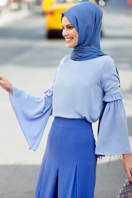 Refka Bebe Mavisi Kolları Volanlı Bluz