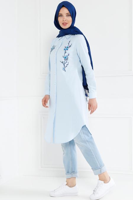 Refka Bebe Mavisi Nakış İşlemeli Tunik