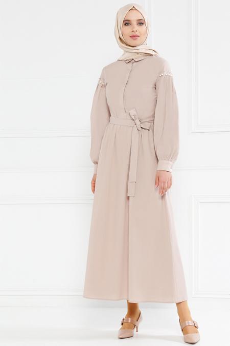 Refka Bej İnci Detaylı Gizli Düğmeli Elbise