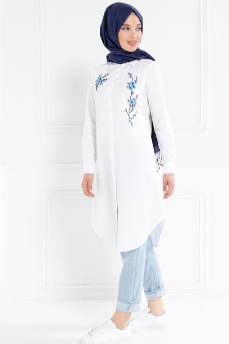 Refka Beyaz Nakış İşlemeli Tunik