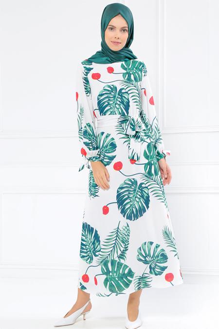 Refka Beyaz Yeşil Kol Detaylı Desenli Elbise