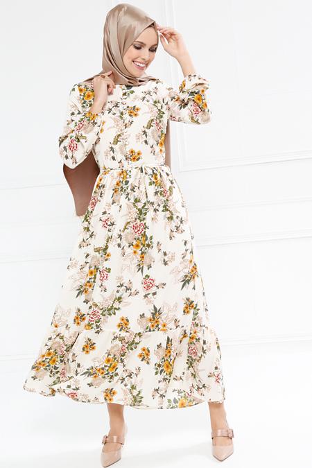 Refka Ekru Brit Detaylı Desenli Elbise